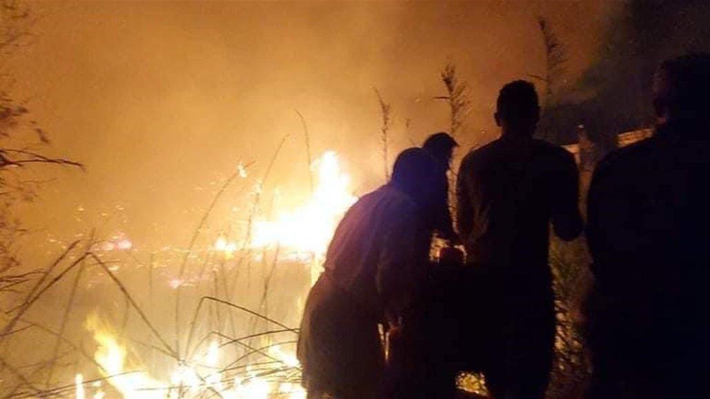 اندلاع حريق كبير بمقبرة الصابئة في ذي قار